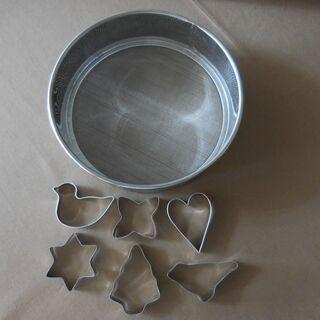 クッキー型6個+裏ごし器(粉振るいも可)