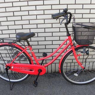 【シティサイクル】ママチャリ 26インチ 赤 レッド
