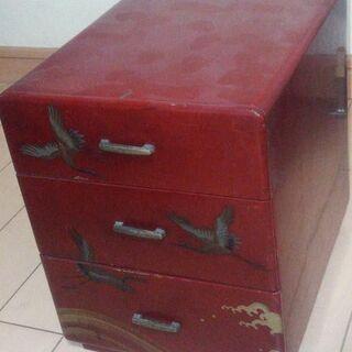【昭和前期】漆塗り小箱 小物入れ(木製19幅x24奥x24高cm)