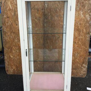 直接引き取りOK 縦型 ガラスショーケース 店舗 木製 ホワイト...