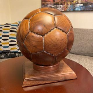 【ネット決済】【美品・レア】木製サッカーボールオブジェ
