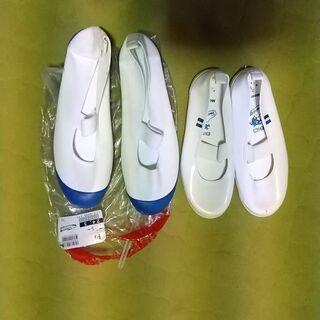 青い上靴24,5cm、白い上靴21cmの画像