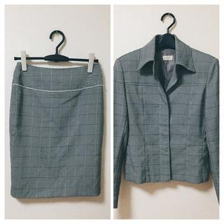 【Mサイズ】スーツ セットアップ スカート グレー チェック 入...