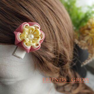 初めての髪飾りに♪桃の花ベビークリップ08