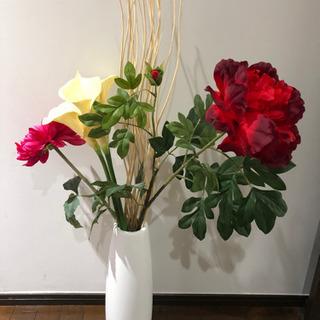 美品 IKEA 花瓶 造花セット ダリア カラー