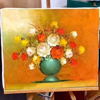 花瓶に活けられた花の絵