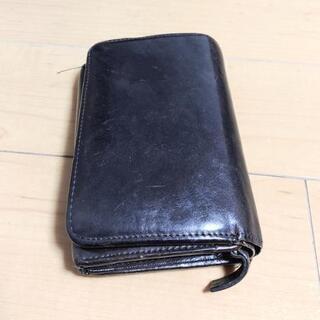 【中古】革財布 折り財布 ポケット多い