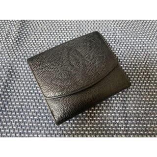 CHANEL シャネル ココマークキャビアスキンWホック二つ折り財布