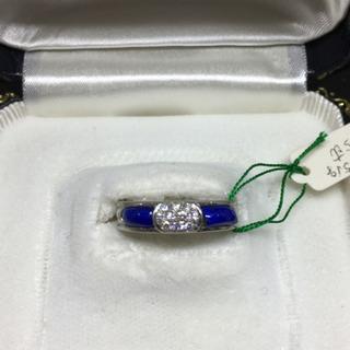 【ネット決済・配送可】ダイヤモンドとラピスラズリの指輪 プラチナ