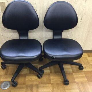 オフィスチェア 2脚セット キャスター付き ブラック レザ…