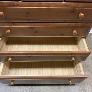 美品 高級 木製 チェスト 5段 洋箪笥 幅890×奥行460×高さ1000㎜ 収納家具 開閉スムーズ 中古 E - 家具