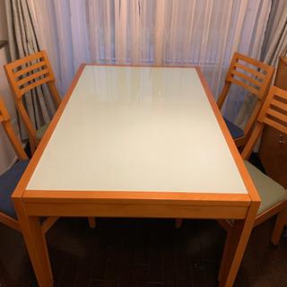 ダイニングテーブル ガラストップ x 無垢材 伸長式