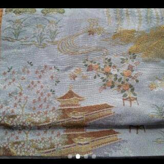 詳細必読 中古 正絹?袋帯 銀色×平安神宮などの刺繍 さいたま市北区