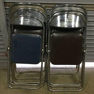 パイプ椅子 6脚セット 折りたたみ椅子 チェア 黒/紺 いろいろ...