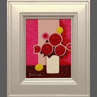 【ネット決済・配送可】小さい油絵●『ミニピンクの背景の花』●がん...