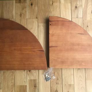 コーナー壁用 飾り棚 木製 2個セット 中古 傷汚れあり