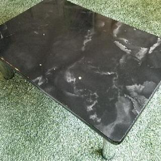 ローテーブル 幅90cm ブラック&シルバー センターテーブル