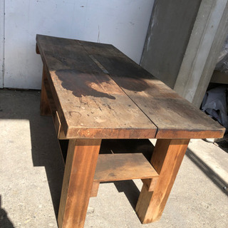 昭和レトロ 古い木製作業台 テーブル 机 136×60×60cm
