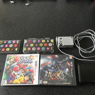 3DS(マリオカバー付)、ソフト3つ(スマブラ、モンハンダブル、...