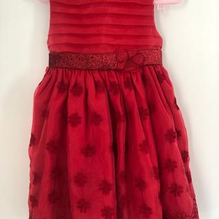 海外 子ども赤ドレス 4T