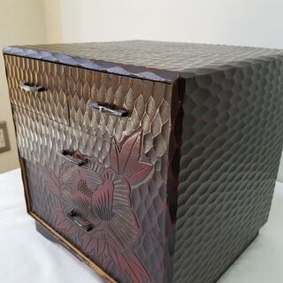 【ネット決済・配送可】時代物 鎌倉彫 3段 小箪笥 引き出し 小...