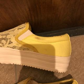 1回短時間使用 春色レモンカラー厚底レーススリッポン LL - 靴/バッグ