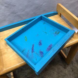 訳あり!子ども用 学習机 デスク&チェアセット キッズ お絵かき 木製 ブルー  椅子 テーブル 現状品 E - 売ります・あげます