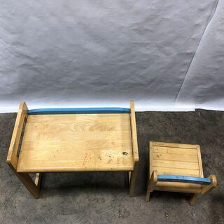 訳あり!子ども用 学習机 デスク&チェアセット キッズ お絵かき 木製 ブルー  椅子 テーブル 現状品 E - 福井市