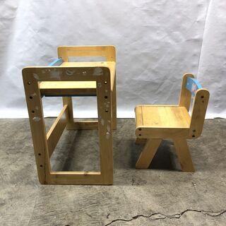 訳あり!子ども用 学習机 デスク&チェアセット キッズ お絵かき 木製 ブルー  椅子 テーブル 現状品 E - 家具