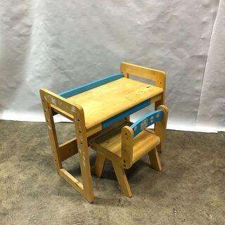 訳あり!子ども用 学習机 デスク&チェアセット キッズ お絵かき 木製 ブルー  椅子 テーブル 現状品 Eの画像