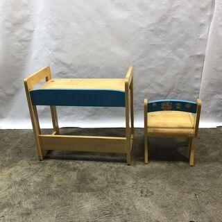 訳あり!子ども用 学習机 デスク&チェアセット キッズ お絵かき 木製 ブルー  椅子 テーブル 現状品 E − 福井県