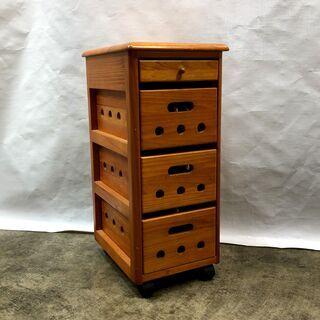 大特価!木製ワゴン キッチン収納 3段 キャスター付き ストッカー  幅30cm キャビネット Eの画像