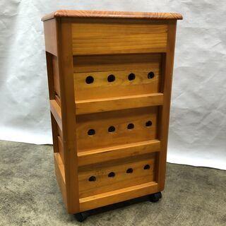 大特価!木製ワゴン キッチン収納 3段 キャスター付き ストッカー  幅30cm キャビネット E - 家具