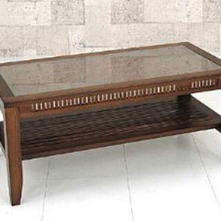 アジアン ローテーブル 天然木 ガラス天板