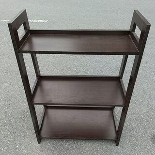 三段木製ラック