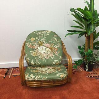回転椅子 椅子 チェア 花柄