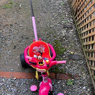 ミニーマウス押し手付き三輪車