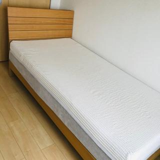 美品 木製シングルベッド コンセント マットレス 付き