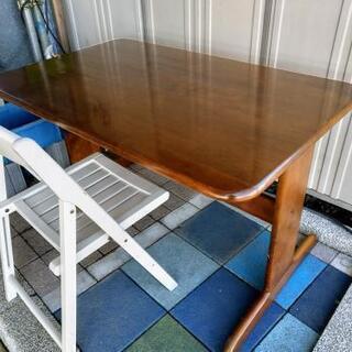 ★木製テーブル ブラウン★椅子付