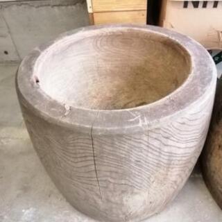 ⚫希少⚫無垢天然木⚫臼⚫うす⚫0円⚫植木鉢や薪割り台などに①