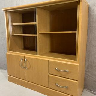 【値下げしました】食器棚 小さめ ガラス戸 木 掃除済み 単身用