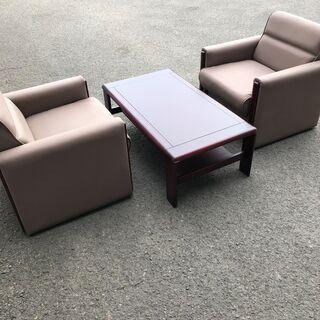 オフィス、リビング、書斎に最適なソファー テーブルセット(二脚)