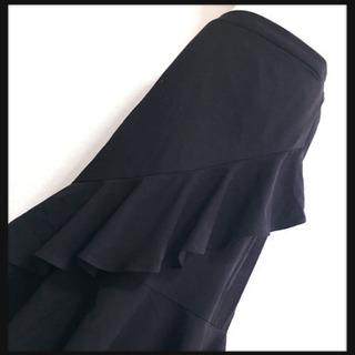 [GU]アシンメトリーボリュームフリル スカート黒 無地 斜めフ...