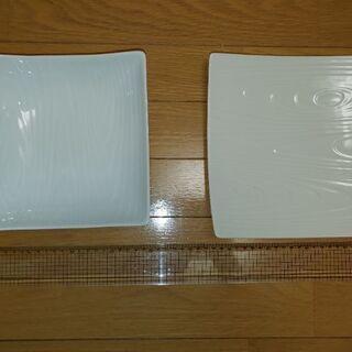 ①白いお皿木目調☺️(2枚セット)未使用品‼️