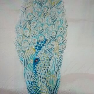 刺繍~孔雀(帯の端切れ)3枚セット
