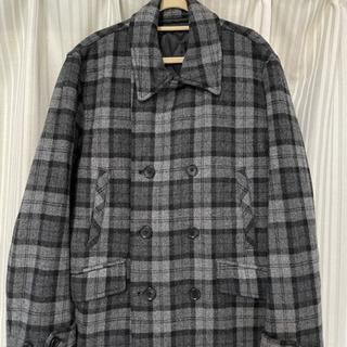 BEAMS コート メンズ 黒×グレー チェック柄