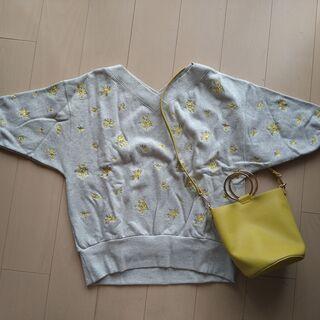 ジーナシス (JEANASIS)七分袖小花刺繍プルオーバー&バッ...