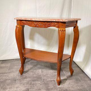 コンソールテーブル 大理石風天板 石天板 茶 猫脚 アンテ…