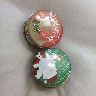 クリスマス柄の丸い缶【詳細を読んでから問い合わせしてください】