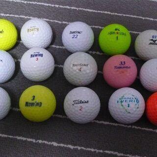 ゴルフ初心者に! ロストボール15球+木製ティー+本 セット